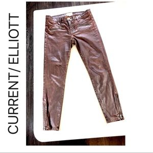 Brown Wax Coated 80's Skinny Jeans w Zippers